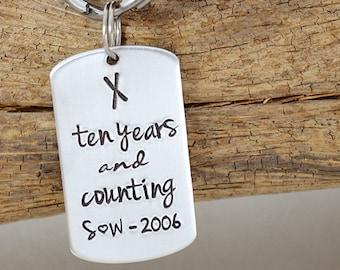 Hand Stamped Anniversary Keyring 10 Year Anniversary Gift