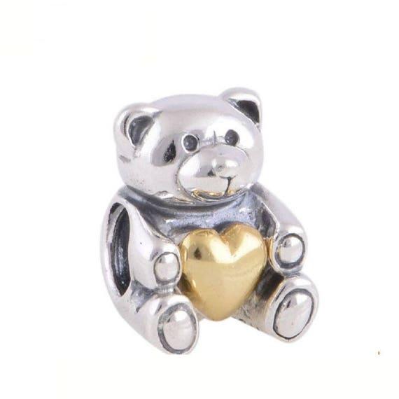 [Sponsored]Red Heart Teddy Bear Charm Bracelet Bead - Sterling Silver 925 HiC8O