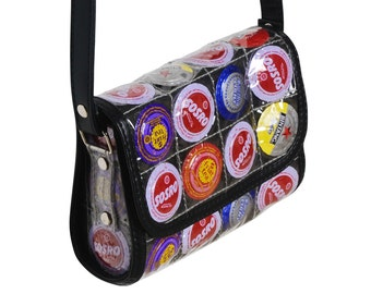 Small Crossbody bottle caps, FREE SHIPPING, Recycled bag, Upcycled bag, cross body purse, Hipster bag, shoulder bag, colorful bag, sling bag