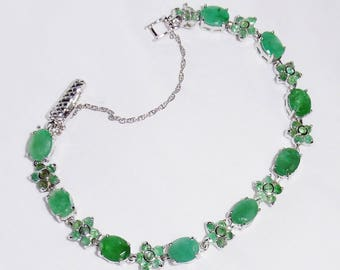 80TCW Natural Columbian Emerald gemstones, SOLID 14kt White gold Safety Chain, Sterling Silver Bracelet 7 1/2""