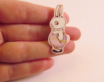 Dolly Dingle Bunny Rabbit Illustrated Pin - Brooch Plastic