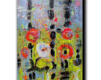 """Art Painting Canvas painting ORIGINAL  ABSTRACT  PAINTING on canvas  """" Illusion"""" 36''x24'' Acrylic on Canvas Yellow Painting"""