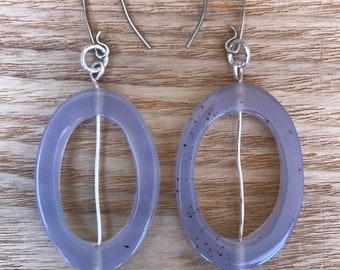 Semi-Transparent Lavender Oval Dangling Drop Earrings