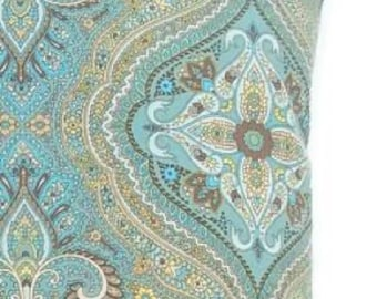 Pillow Cover Teal Blue and Teal Green with Yellow Brown and White-Invisible Zipper