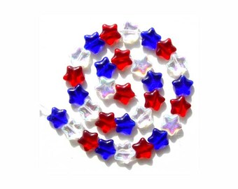 Patriotic Star Beads Red White Blue Glass Beads Big size 4th of July Memorial Day VOTE