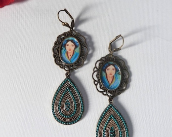 Retro earrings with a portrait of Asian woman in an antique bronze medallion
