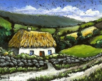 Honeysuckle cottage - 5x7 print of an original painting by Tanya Bond - beautiful Irish landscape with rolling hills