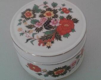 Trinket Box - Pretty White and Floral  Sadler China