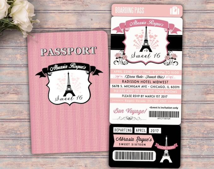 PASSPORT and TICKET invitation, travel birthday party invitation- Paris, Eiffel tower,  first birthday, sweet 16, Digital files only