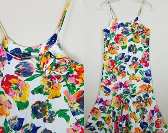 1980s vintage floral dress | Size 4 | Small spaghetti strap white - dress with flowers - white dress with flowers