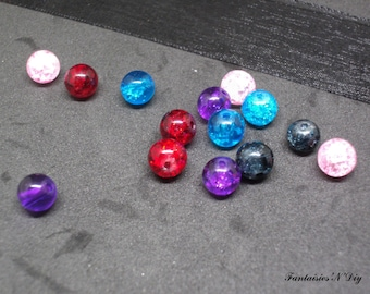 (PV3) Set of 40 beautiful cracked glass pearls 6mm 5 colors