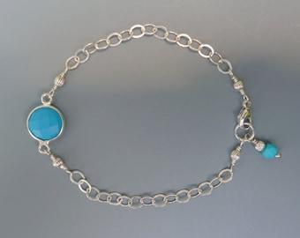 Turquoise Bracelet, Stackable Bracelet, Gemstone Layering Bracelet, Delicate Bracelet, Turquoise Stacking Bracelet, December Birthstone Gift