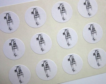 Vintage Biplane Airplane Stickers One Inch Round Seals