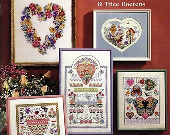 Cross Stitch Hearts / Counted Cross Stitch Pattern Book American School of Needlework 3692