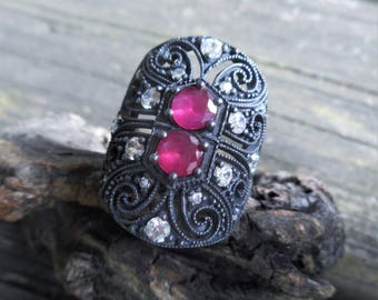 Red ring, ruby quartz ring, large red ring, gothic ring, renaissance ring, gothic red ring, large ring, topaz ring, filigree ring, medieval