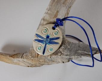 Blue Dragonfly Pottery Pendant Necklace J15