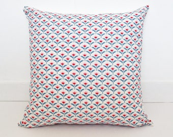 """Retro Floral Cushion Covers / Pillow Covers - 45x 45 cm (18"""" x 18"""") / Pale Pink, Blue and Red Geometric Flowers"""