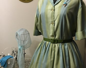 Vintage 1950s celadon and blue pin striped shirtwaist dress