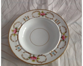Victorian Hand Painted Wide Rimmed Shallow Bowl, Pink Roses with Gilt Trim