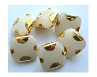 6 Vintage buttons white plastic square with gold trim-pick up size