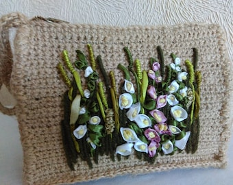 Handmade, Ribbon Embroidery Clutch, A bag for cosmetics, Knitted bag, Crochet Clutch Bag.