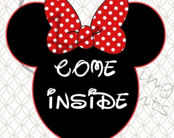 DIGITAL DOWNLOAD - Minnie Mouse Come Inside Its Fun Inside (Red)
