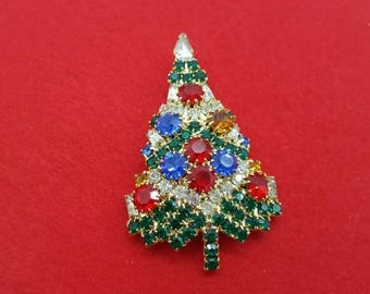 Eisenberg Ice  Rhinestone Christmas Tree  Brooch Festive Vintage Holiday Season