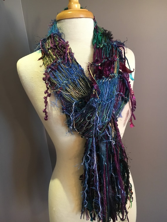 Lightweight open weave scrappy scarf, Dumpster Diva 'Cool Jewel' Blend fringed Scarf, Hand dyed ribbon, purple blue scarf, spring scarves