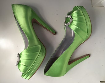 Green Wedding Shoes-Platform Heel Bridal Shoes - Adorned With Swarovski Pearls - Over 100 Colors To Choose From - 4 Inch Platform Heel Shoes
