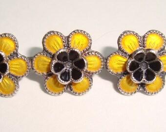 Meka Sterling Silver Yellow Enamel Flower Pin Dernmark