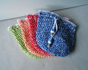 Pouch bag, crochet pouch, hand made little bag, drawstring small bag, red pouch, green pouch, blue pouch, peach pouch