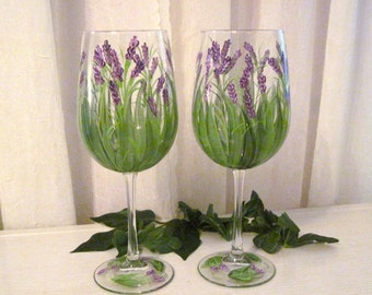 Free shipping Lavender wildflower hand painted wine glasses