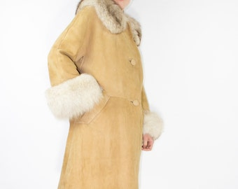 60s Vintage Fox and Suede Mid-Length Coat | Soft Fur and Leather Coat | Size Large | Boho Mid-Century Fur Coat