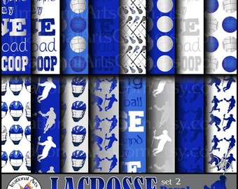 Lacrosse Papers Set 2 - Royal Blue, Silver, and White digital scrapbooking paper in 30 jpg files {Instant Download}