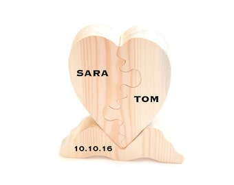 Personalized wooden  heart, valentines heart, two part heart puzzle handmade