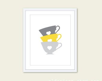Vintage Tea Cups Print - Kitchen Wall Art - Grey and Yellow Art - Tea Time Print -  Aldari Art