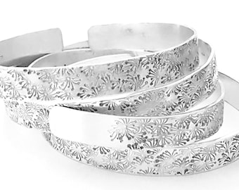 Silver Cuff Bracelet, Handmade Boho Chic Campo di Fiori Collection Stacking Bracelets