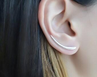 925 Sterling Silver Ear Cuff - Statement Ear Pin , Ear Climber , Ear Sweep , Wrap Earrings , Ear Cuff Earring , Trending Jewelry