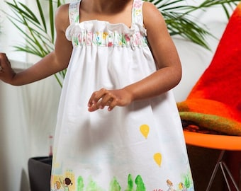 SALE!  Girls Border Print Cotton Summer Dress 2-3 Years