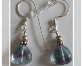Genuine Fluorite and Sterling Silver Earrings -- Pretty for you or for a gift!
