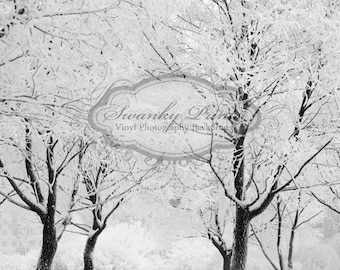 5ft x 5ft Vinyl Photography Backdrop / Winter Forest / Snow / Holiday
