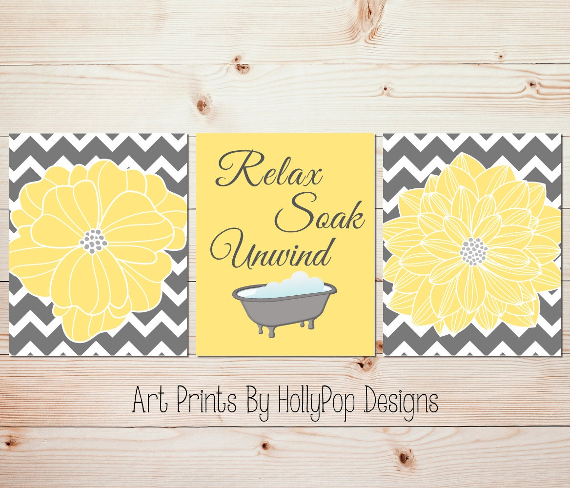 Yellow gray bathroom wall decor Bathroom art prints Yellow