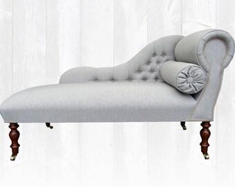 Provence Chaise Longue Grey Herringbone *Stunning* Handmade in UK