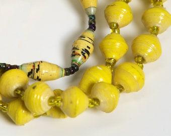 Paper Bracelet Single Stretch/Yellow/Recycled/JJ-BR-1