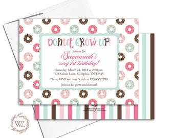 Donut grow up 1st birthday invitation for girls, pink mint brown, donut party invitation, printable or printed - WLP00301