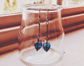Blue Dangling Heart Earrings Handmade with Vintage Beads