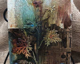 Mixed Media Collage 8x10 Textured Vintage Look Neutrals Wall Art