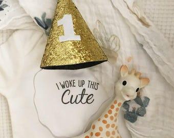 First Birthday Party Hat | First Birthday Hat | 1st Birthday Party Hat | Gold Party Hat