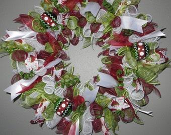 Christmas Wreath Red Deco Mesh Santa Ribbon Christmas Decor Christmas Ornaments Green Spirals