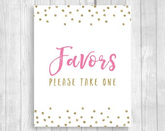 Favors Please Take One 5x7, 8x10 Bridal Shower, Baby Shower, Birthday Favor Table Sign - Pink and Gold Glitter Polka Dots - Instant Download
